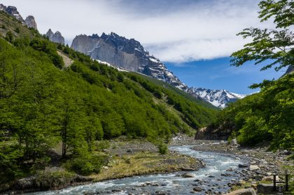 A river and mountain range in Torres del Paine National Park, Patagonia, Chile