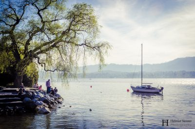 Lake Zurich with a small sailing boat
