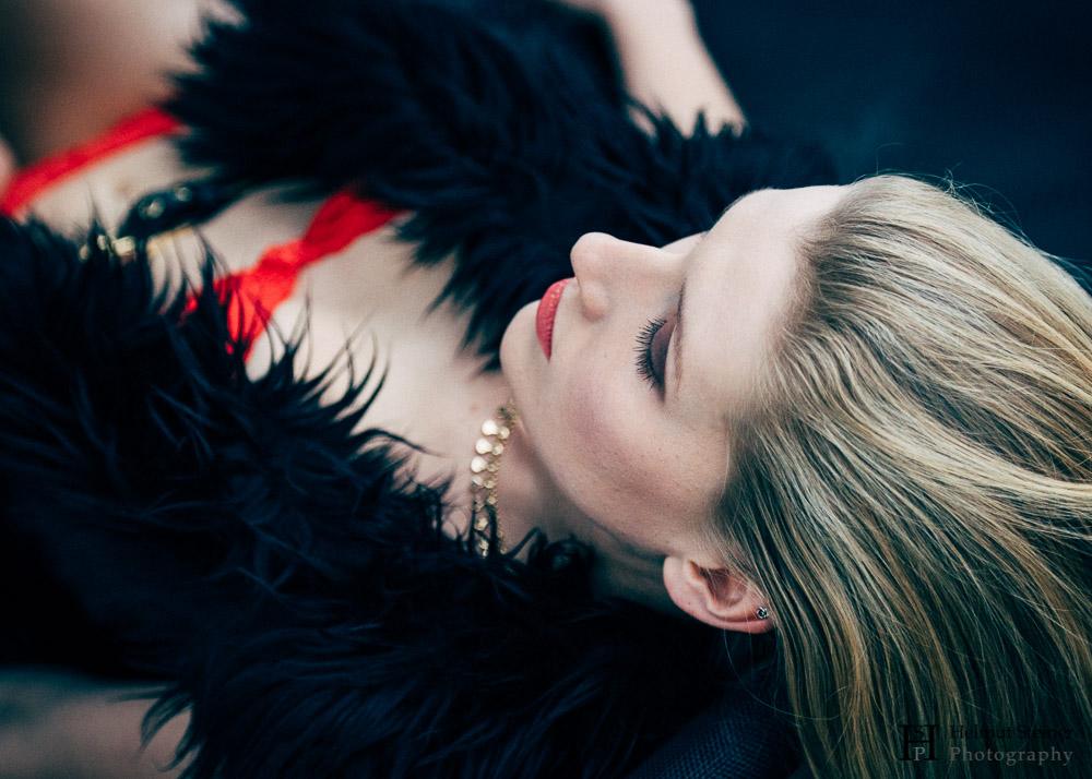 Girl in red lingerie; boudoir photography